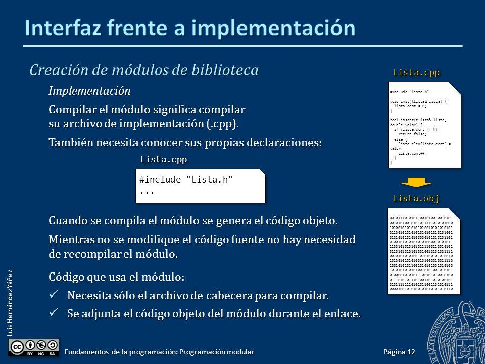 Luis Hernández Yáñez Creación de módulos de biblioteca Interfaz El archivo de cabecera (.h) tiene todo lo que necesita conocer cualquier otro módulo (o programa principal) que quiera utilizar los servicios (subprogramas) de ese módulo de biblioteca.