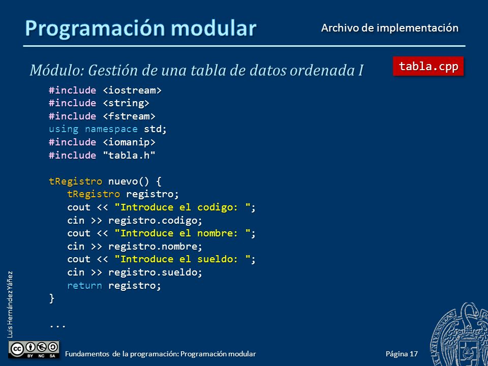 Luis Hernández Yáñez void mostrarDato(int pos, tRegistro registro); void mostrar(const tTabla &tabla); bool operator>(tRegistro opIzq, tRegistro opDer); bool operator<(tRegistro opIzq, tRegistro opDer); tRegistro nuevo(); bool insertar(tTabla &tabla, tRegistro registro); bool eliminar(tTabla &tabla, int pos); // pos = 1..N int buscar(tTabla tabla, string nombre); bool cargar(tTabla &tabla); void guardar(tTabla tabla); Cada prototipo irá con un comentario que explique la utilidad del subprograma, los datos de E/S, particularidades,...
