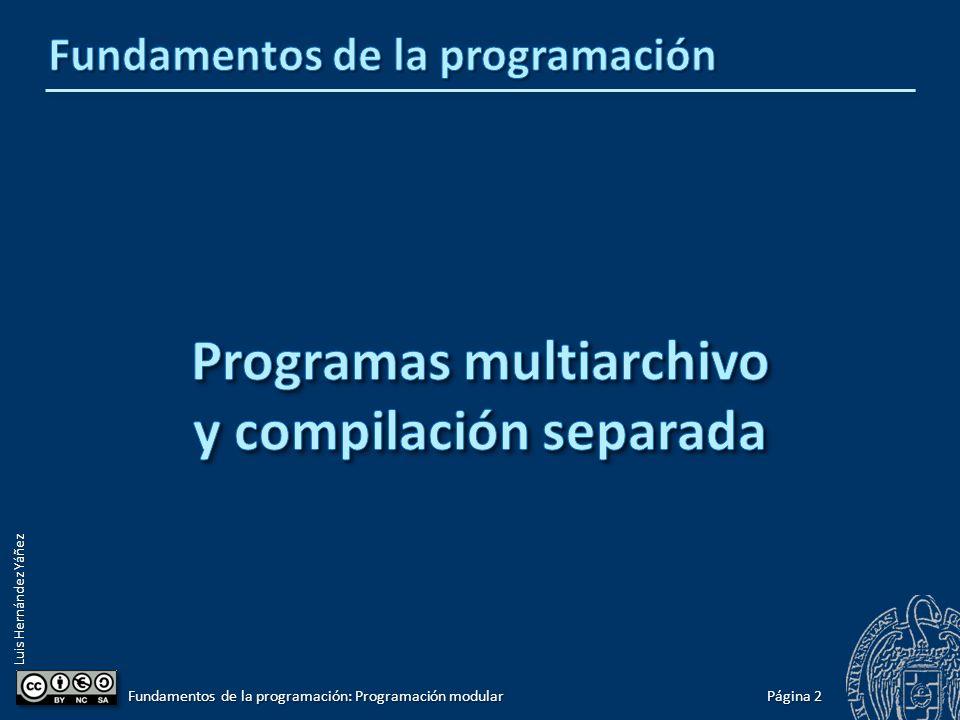 Luis Hernández Yáñez Página 1 Fundamentos de la programación: Programación modular Programas multiarchivo y compilación separada 2 Interfaz frente a implementación7 Uso de módulos de biblioteca13 Ejemplo: Gestión de una tabla de datos ordenada I12 Compilación de programas multiarchivo22 El preprocesador24 Cada cosa en su módulo26 Ejemplo: Gestión de una tabla de datos ordenada II27 El problema de las inclusiones múltiples33 Compilación condicional38 Protección frente a inclusiones múltiples39 Ejemplo: Gestión de una tabla de datos ordenada III40 Implementaciones alternativas48 Espacios de nombres52 Implementaciones alternativas61 Calidad y reutilización del software72