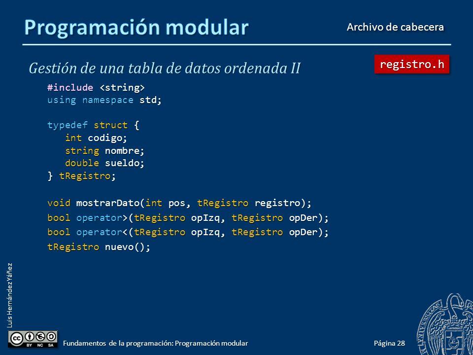 Luis Hernández Yáñez Distribuir la funcionalidad del programa en módulos Un módulo encapsula un conjunto de subprogramas que tienen relación entre sí.