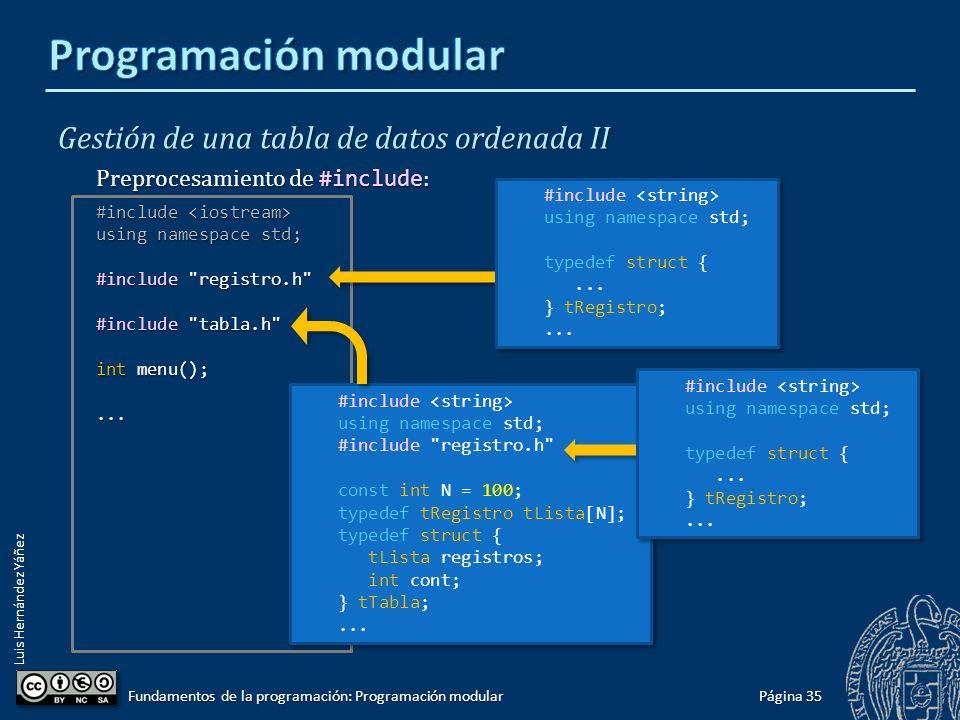 Luis Hernández Yáñez Gestión de una tabla de datos ordenada II 2 módulos y el programa principal: Página 34 Fundamentos de la programación: Programación modular #include...