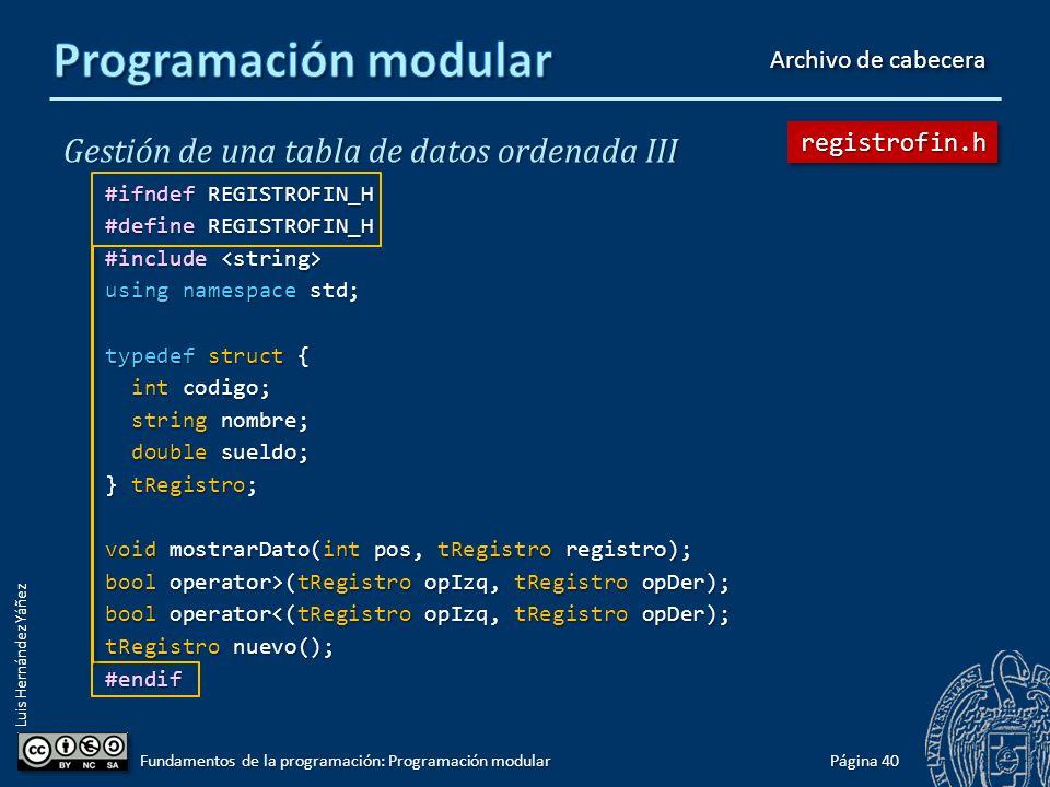 Luis Hernández Yáñez Protección frente a inclusiones múltiples tabla.cpp incluye registro.h y bd2.cpp también incluye registro.h ¡Identificadores duplicados.