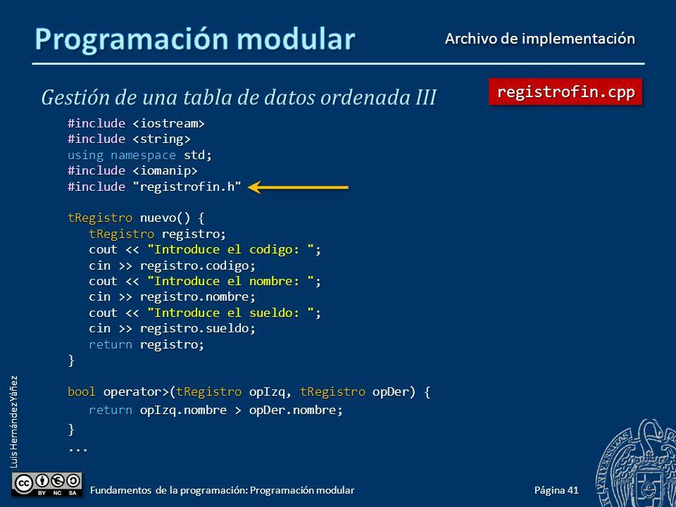 Luis Hernández Yáñez Gestión de una tabla de datos ordenada III #ifndef REGISTROFIN_H #define REGISTROFIN_H #include #include using namespace std; typedef struct { int codigo; int codigo; string nombre; string nombre; double sueldo; double sueldo; } tRegistro; void mostrarDato(int pos, tRegistro registro); bool operator>(tRegistro opIzq, tRegistro opDer); bool operator<(tRegistro opIzq, tRegistro opDer); tRegistro nuevo(); #endif Página 40 Fundamentos de la programación: Programación modular registrofin.hregistrofin.h Archivo de cabecera