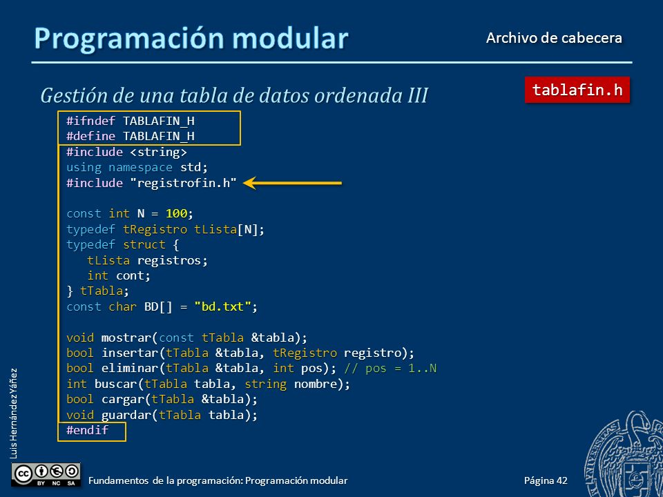 Luis Hernández Yáñez Gestión de una tabla de datos ordenada III #include #include using namespace std; #include #include #include registrofin.h tRegistro nuevo() { tRegistro registro; tRegistro registro; cout << Introduce el codigo: ; cout << Introduce el codigo: ; cin >> registro.codigo; cin >> registro.codigo; cout << Introduce el nombre: ; cout << Introduce el nombre: ; cin >> registro.nombre; cin >> registro.nombre; cout << Introduce el sueldo: ; cout << Introduce el sueldo: ; cin >> registro.sueldo; cin >> registro.sueldo; return registro; return registro;} bool operator>(tRegistro opIzq, tRegistro opDer) { return opIzq.nombre > opDer.nombre; return opIzq.nombre > opDer.nombre;}...