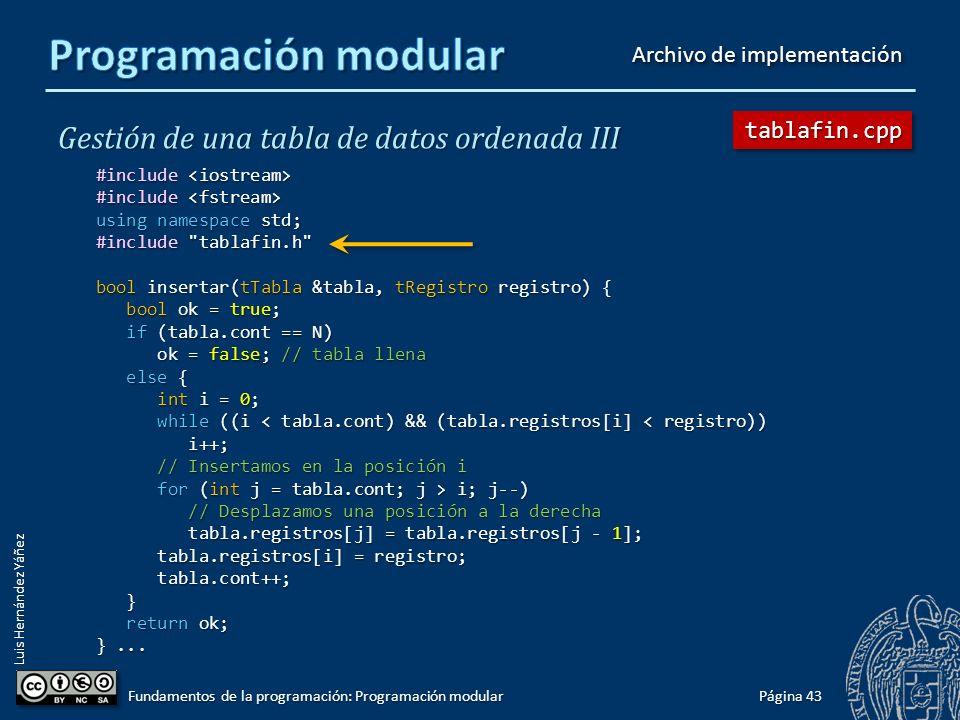 Luis Hernández Yáñez Gestión de una tabla de datos ordenada III #ifndef TABLAFIN_H #define TABLAFIN_H #include #include using namespace std; #include registrofin.h const int N = 100; typedef tRegistro tLista[N]; typedef struct { tLista registros; tLista registros; int cont; int cont; } tTabla; const char BD[] = bd.txt ; void mostrar(const tTabla &tabla); bool insertar(tTabla &tabla, tRegistro registro); bool eliminar(tTabla &tabla, int pos); // pos = 1..N int buscar(tTabla tabla, string nombre); bool cargar(tTabla &tabla); void guardar(tTabla tabla); #endif Página 42 Fundamentos de la programación: Programación modular tablafin.htablafin.h Archivo de cabecera