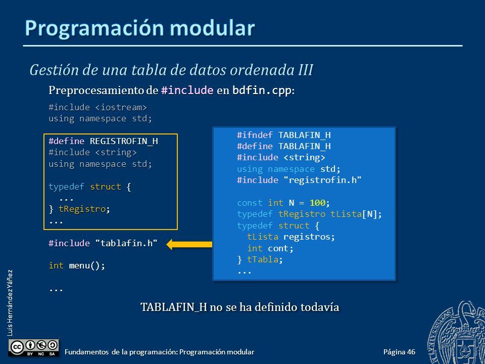 Luis Hernández Yáñez Gestión de una tabla de datos ordenada III Preprocesamiento de #include en bdfin.cpp : #include #include using namespace std; #include registrofin.h #include tablafin.h int menu();...
