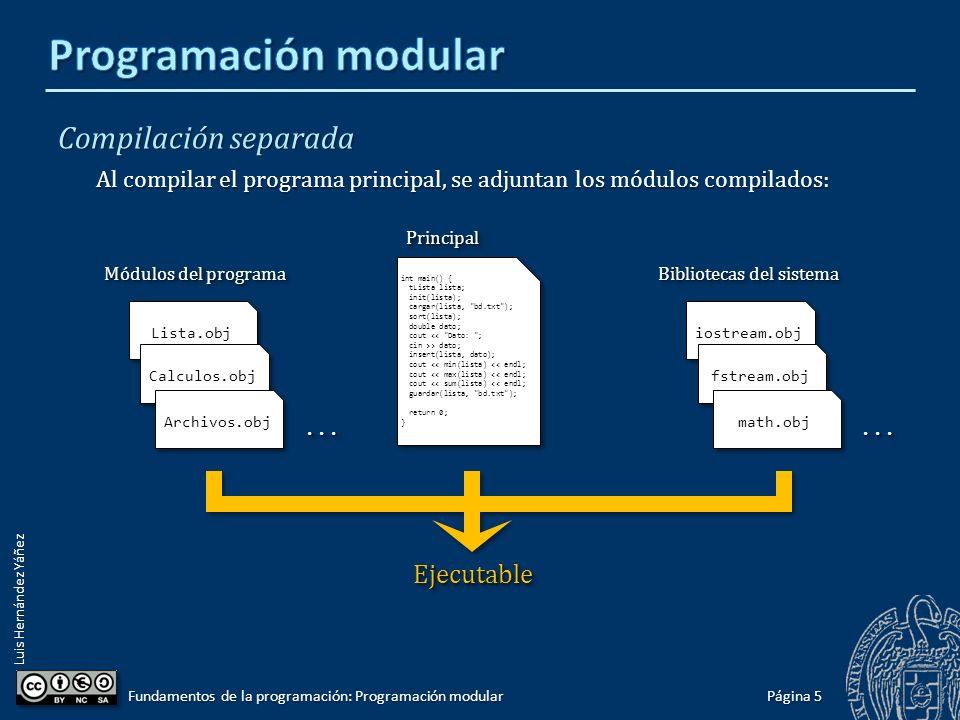 Luis Hernández Yáñez Compilación separada Cada módulo se compila a código fuente de forma independiente: Página 4 Fundamentos de la programación: Programación modular const int N = 10; typedef double tArray[N]; typedef struct { tArray elem; int cont; } tLista; void init(tLista&); bool insert(tLista&, double); bool delete(tLista&, int); int size(tLista); void sort(tLista&); const int N = 10; typedef double tArray[N]; typedef struct { tArray elem; int cont; } tLista; void init(tLista&); bool insert(tLista&, double); bool delete(tLista&, int); int size(tLista); void sort(tLista&); ListaLista bool cargar(tLista&, string); bool guardar(tLista, string); bool mezclar(string, string); int size(string); bool exportar(string);...