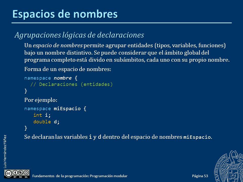 Luis Hernández Yáñez Página 52 Fundamentos de la programación: Programación modular