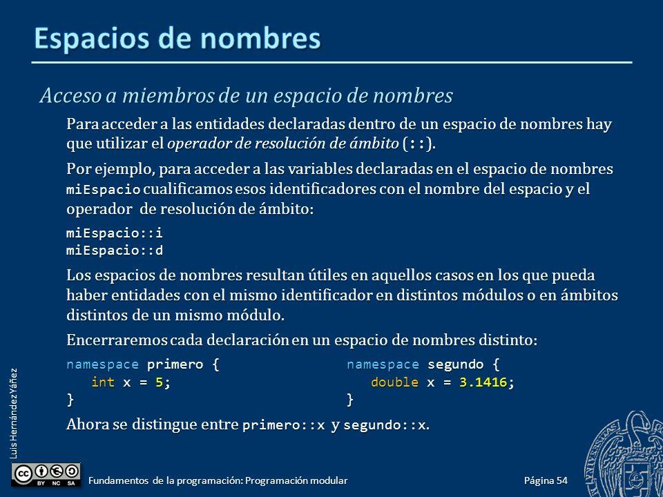 Luis Hernández Yáñez Agrupaciones lógicas de declaraciones Un espacio de nombres permite agrupar entidades (tipos, variables, funciones) bajo un nombre distintivo.