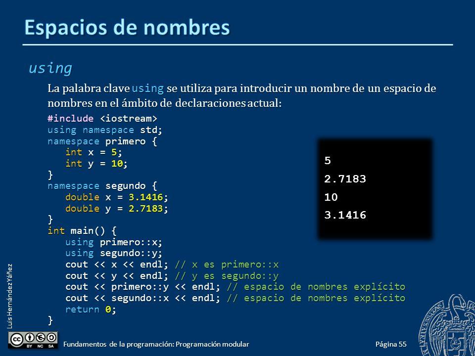 Luis Hernández Yáñez Acceso a miembros de un espacio de nombres Para acceder a las entidades declaradas dentro de un espacio de nombres hay que utilizar el operador de resolución de ámbito ( :: ).