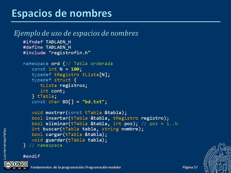 Luis Hernández Yáñez using namespace La instrucción using namespace se utiliza para introducir todos los nombres de un espacio de nombres en el ámbito de declaraciones actual: #include #include using namespace std; namespace primero { int x = 5; int x = 5; int y = 10; int y = 10;} namespace segundo { double x = 3.1416; double x = 3.1416; double y = 2.7183; double y = 2.7183;} int main() { using namespace primero; using namespace primero; cout << x << endl; // x es primero::x cout << x << endl; // x es primero::x cout << y << endl; // y es primero::y cout << y << endl; // y es primero::y cout << segundo::x << endl; // espacio de nombres explícito cout << segundo::x << endl; // espacio de nombres explícito cout << segundo::y << endl; // espacio de nombres explícito cout << segundo::y << endl; // espacio de nombres explícito return 0; return 0;} Página 56 Fundamentos de la programación: Programación modular 5 10 3.1416 2.7183 5 10 3.1416 2.7183 using [ namespace ] sólo tiene efecto en el bloque en que se encuentra.