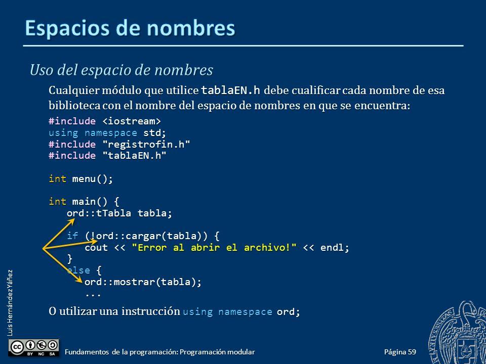 Luis Hernández Yáñez Archivo de implementación #include #include using namespace std; #include tablaEN.h // IMPLEMENTACIÓN DE LAS FUNCIONES DEL ESPACIO DE NOMBRES ord bool ord::insertar(tTabla &tabla, tRegistro registro) { //...