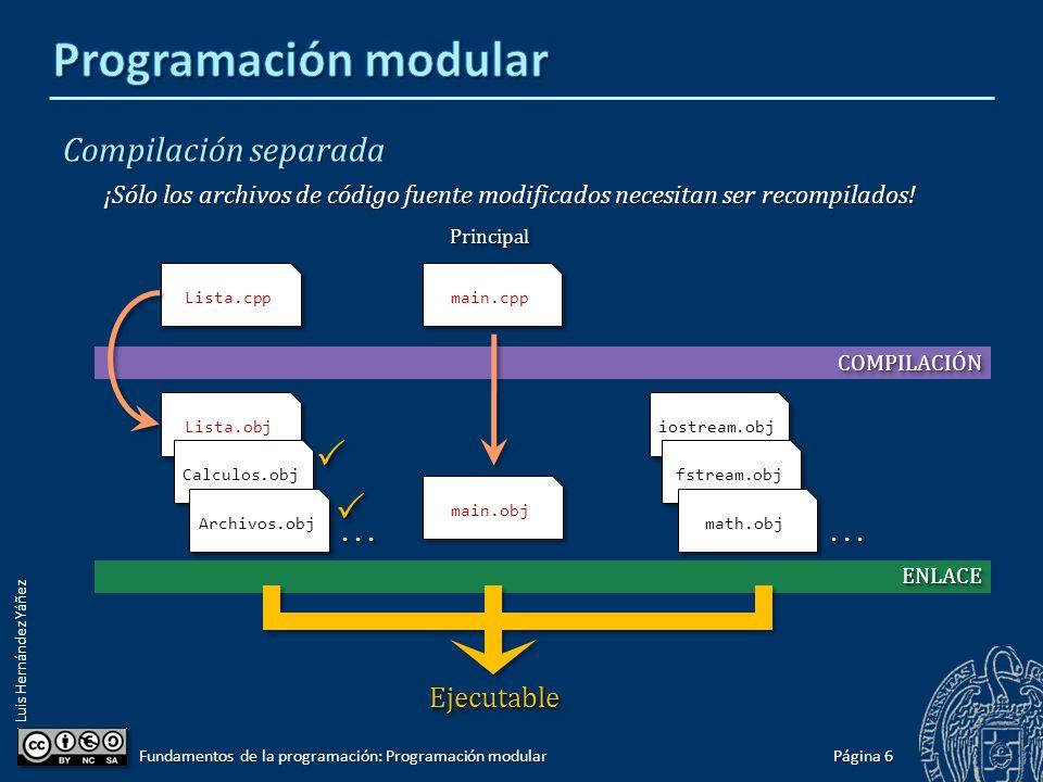 Luis Hernández Yáñez Compilación separada Al compilar el programa principal, se adjuntan los módulos compilados: Página 5 Fundamentos de la programación: Programación modular int main() { tLista lista; init(lista); cargar(lista, bd.txt ); sort(lista); double dato; cout << Dato: ; cin >> dato; insert(lista, dato); cout << min(lista) << endl; cout << max(lista) << endl; cout << sum(lista) << endl; guardar(lista, bd.txt ); return 0; } int main() { tLista lista; init(lista); cargar(lista, bd.txt ); sort(lista); double dato; cout << Dato: ; cin >> dato; insert(lista, dato); cout << min(lista) << endl; cout << max(lista) << endl; cout << sum(lista) << endl; guardar(lista, bd.txt ); return 0; } PrincipalPrincipal Lista.obj Calculos.obj Archivos.obj iostream.obj fstream.obj math.obj Módulos del programa Bibliotecas del sistema EjecutableEjecutable............