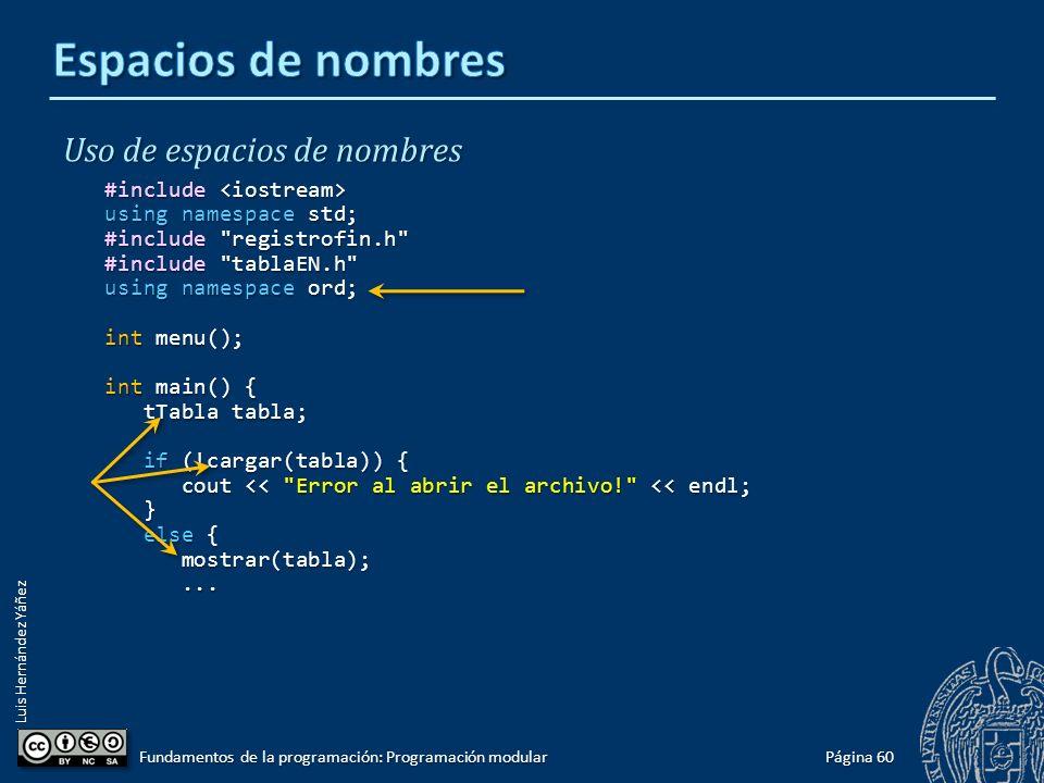 Luis Hernández Yáñez Uso del espacio de nombres Cualquier módulo que utilice tablaEN.h debe cualificar cada nombre de esa biblioteca con el nombre del espacio de nombres en que se encuentra: #include #include using namespace std; #include registrofin.h #include tablaEN.h int menu(); int main() { ord::tTabla tabla; ord::tTabla tabla; if (!ord::cargar(tabla)) { if (!ord::cargar(tabla)) { cout << Error al abrir el archivo! << endl; cout << Error al abrir el archivo! << endl; } else { else { ord::mostrar(tabla); ord::mostrar(tabla);......