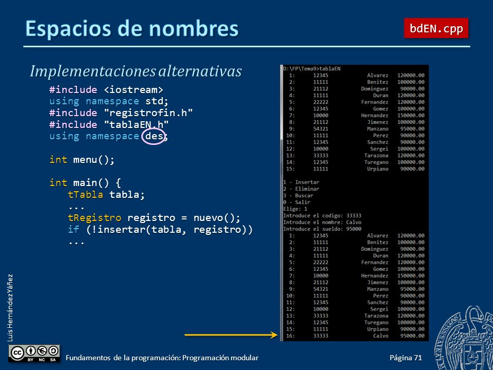 Luis Hernández Yáñez Implementaciones alternativas #include #include using namespace std; #include registrofin.h #include tablaEN.h using namespace ord; int menu(); int main() { tTabla tabla; tTabla tabla;......