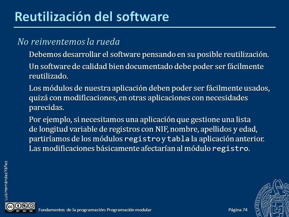 Luis Hernández Yáñez Software de calidad El software debe ser desarrollado con buenas prácticas de ingeniería del software que aseguren un buen nivel de calidad.
