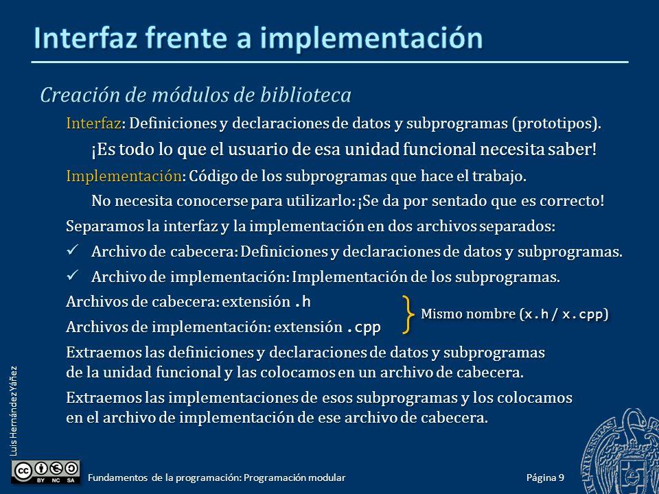Luis Hernández Yáñez Creación de módulos de biblioteca En el código de un programa de un único archivo tenemos: Definiciones de constantes.