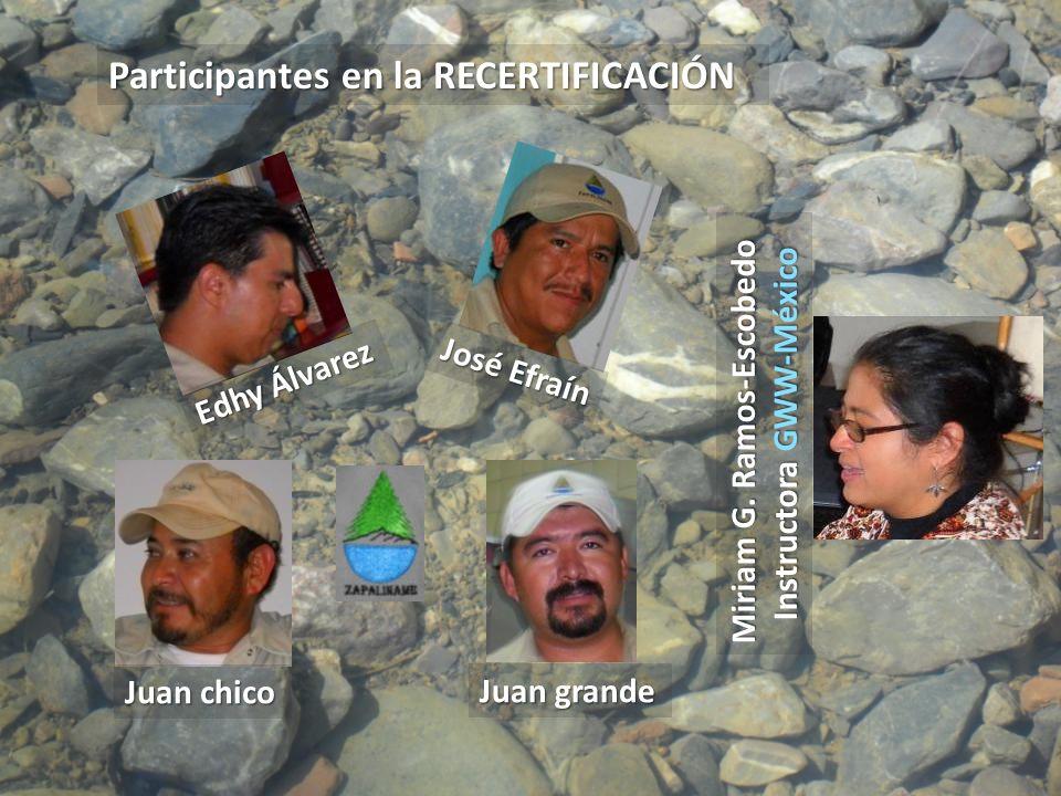 Miriam G. Ramos-Escobedo Instructora GWW-México Participantes en la RECERTIFICACIÓN Edhy Álvarez José Efraín Juan chico Juan grande
