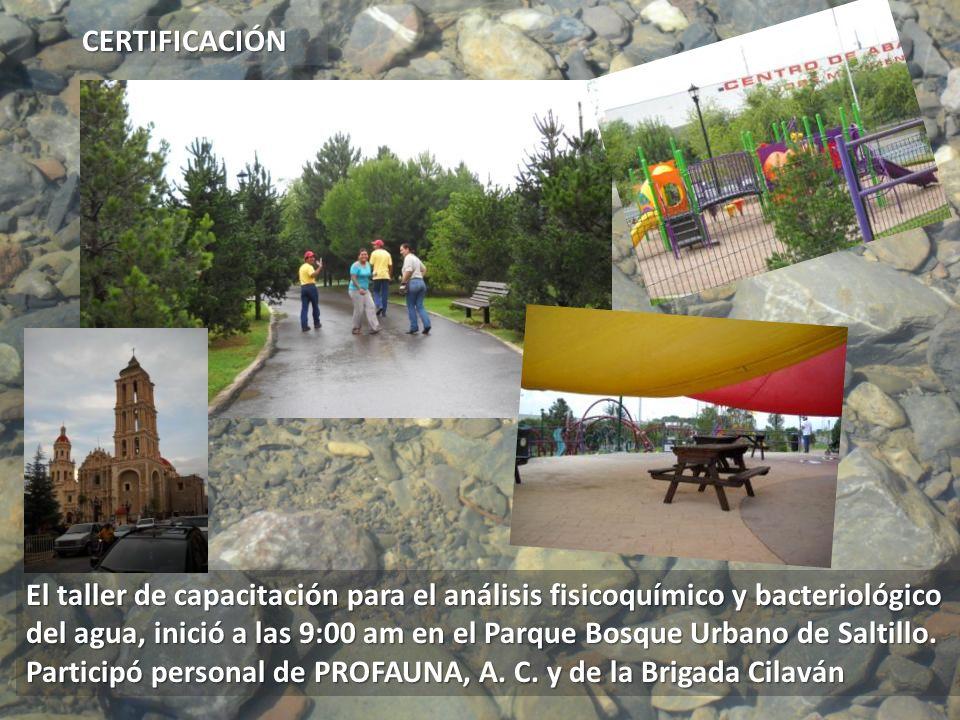 El taller de capacitación para el análisis fisicoquímico y bacteriológico del agua, inició a las 9:00 am en el Parque Bosque Urbano de Saltillo. Parti