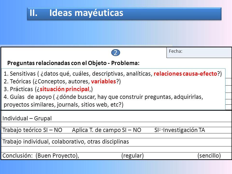 I. Descripción del Objeto Problema o situación 1. Descripción del objeto y/o problema : Fecha: Condición, consecuencia, Deductivo¿hacia dónde lleva es
