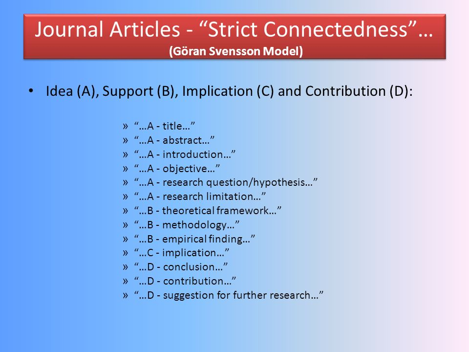 A Journal Article… (Göran Svensson Model) Structure: …title (mirror of content)… …abstract (summary)… …keywords (search word)… …introduction (market i