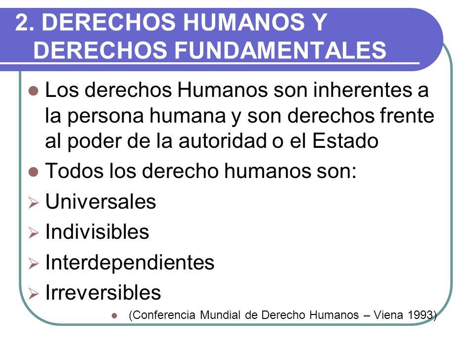 2. DERECHOS HUMANOS Y DERECHOS FUNDAMENTALES Los derechos Humanos son inherentes a la persona humana y son derechos frente al poder de la autoridad o