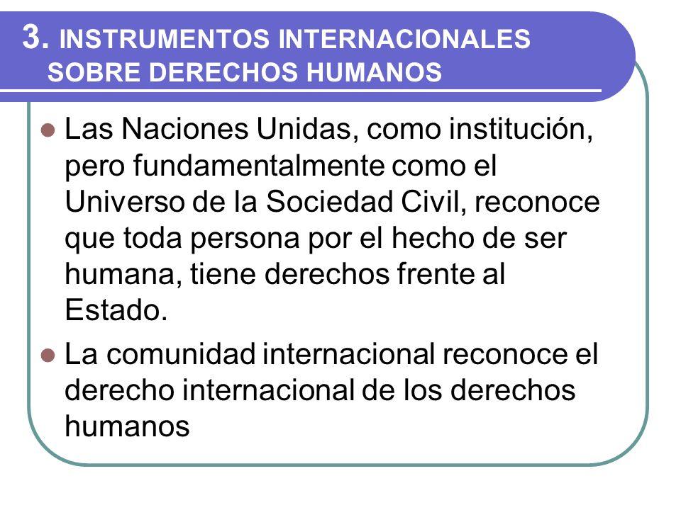 3. INSTRUMENTOS INTERNACIONALES SOBRE DERECHOS HUMANOS Las Naciones Unidas, como institución, pero fundamentalmente como el Universo de la Sociedad Ci
