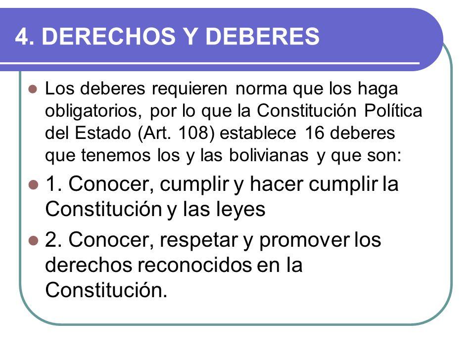 4. DERECHOS Y DEBERES Los deberes requieren norma que los haga obligatorios, por lo que la Constitución Política del Estado (Art. 108) establece 16 de