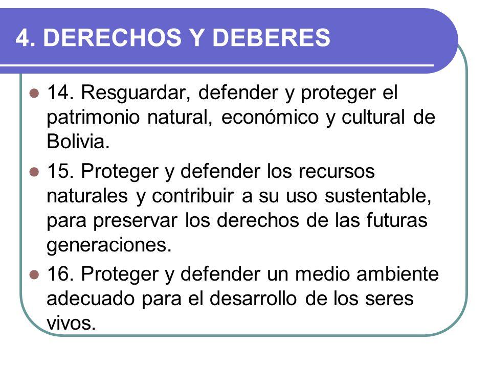 4. DERECHOS Y DEBERES 14. Resguardar, defender y proteger el patrimonio natural, económico y cultural de Bolivia. 15. Proteger y defender los recursos