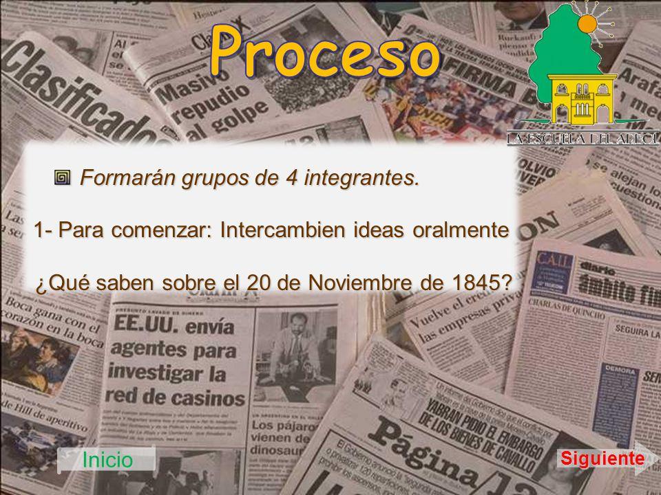 Formarán grupos de 4 integrantes. 1- Para comenzar: Intercambien ideas oralmente ¿Qué saben sobre el 20 de Noviembre de 1845? ¿Qué saben sobre el 20 d