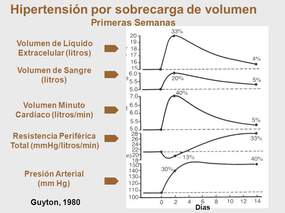 Volumen de Líquido Extracelular (litros) Volumen de Sangre (litros) Volumen Minuto Cardíaco (litros/min) Resistencia Periférica Total (mmHg/litros/min