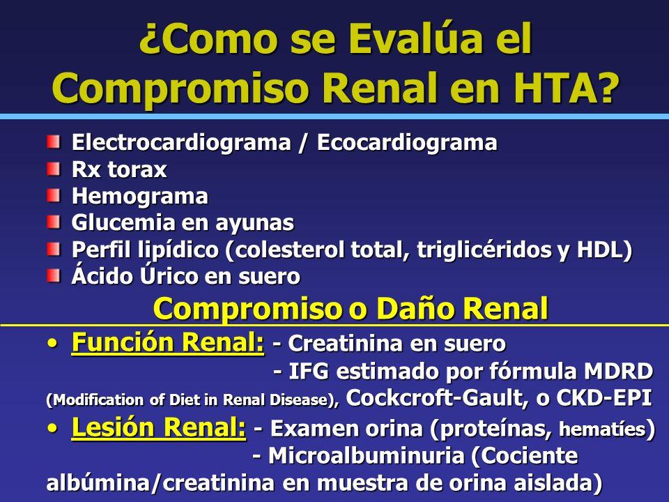 ¿Como se Evalúa el Compromiso Renal en HTA? Electrocardiograma / Ecocardiograma Rx torax Hemograma Glucemia en ayunas Perfil lipídico (colesterol tota