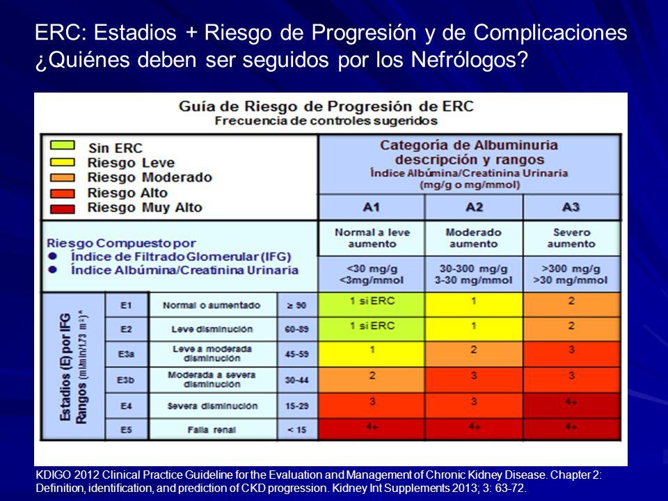 ERC: Estadios + Riesgo de Progresión y de Complicaciones ¿Quiénes deben ser seguidos por los Nefrólogos? KDIGO 2012 Clinical Practice Guideline for th