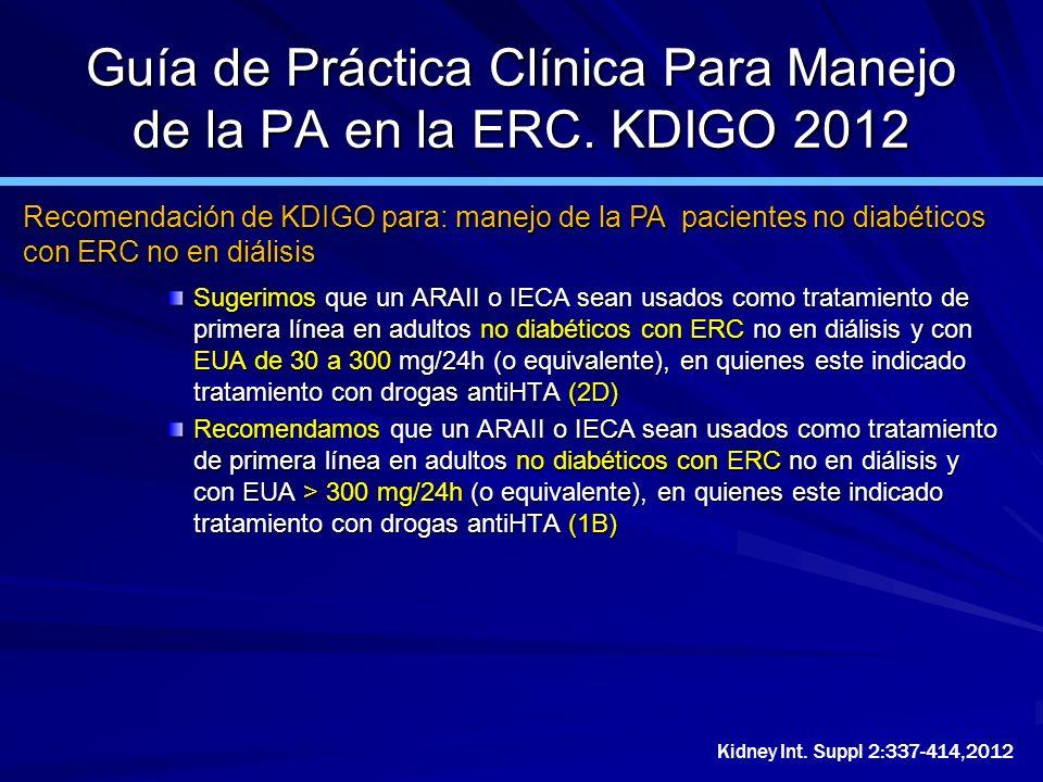 Guía de Práctica Clínica Para Manejo de la PA en la ERC. KDIGO 2012 Sugerimos que un ARAII o IECA sean usados como tratamiento de primera línea en adu