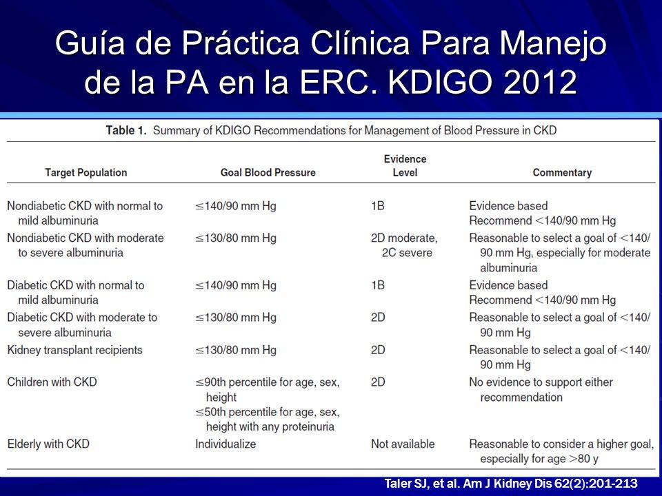 Guía de Práctica Clínica Para Manejo de la PA en la ERC. KDIGO 2012 Taler SJ, et al. Am J Kidney Dis 62(2):201-213
