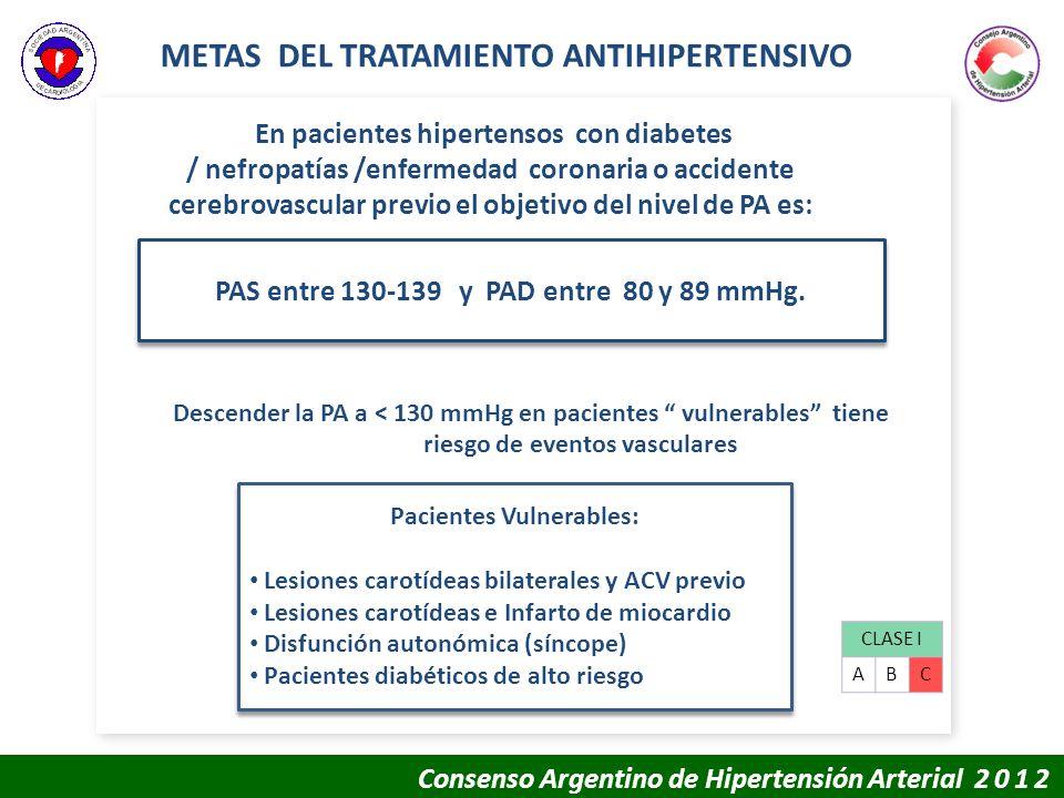 METAS DEL TRATAMIENTO ANTIHIPERTENSIVO CLASE I ABC En pacientes hipertensos con diabetes / nefropatías /enfermedad coronaria o accidente cerebrovascul