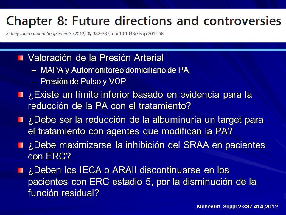 Valoración de la Presión Arterial –MAPA y Automonitoreo domiciliario de PA –Presión de Pulso y VOP ¿Existe un límite inferior basado en evidencia para
