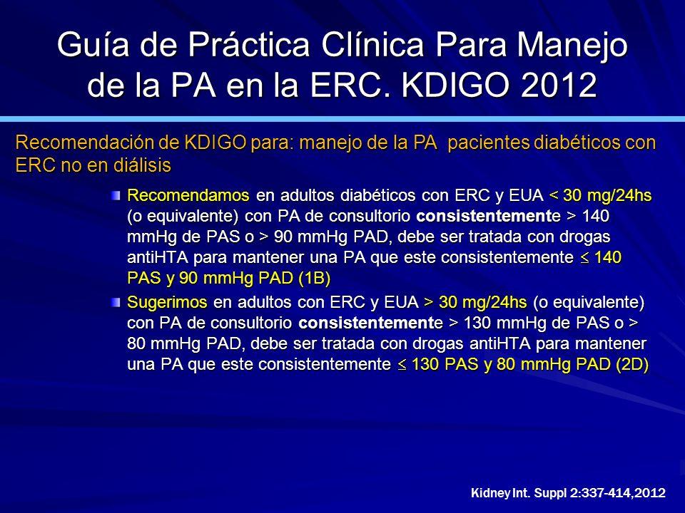 Guía de Práctica Clínica Para Manejo de la PA en la ERC. KDIGO 2012 Recomendamos en adultos diabéticos con ERC y EUA 140 mmHg de PAS o > 90 mmHg PAD,
