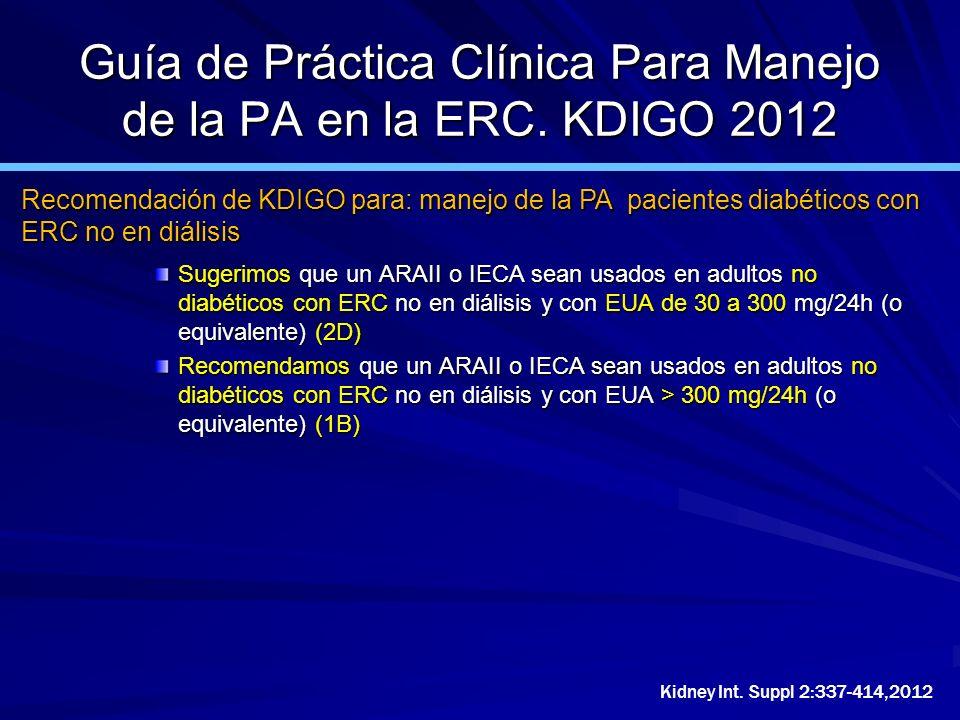 Guía de Práctica Clínica Para Manejo de la PA en la ERC. KDIGO 2012 Sugerimos que un ARAII o IECA sean usados en adultos no diabéticos con ERC no en d
