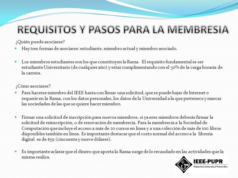 Descuento y preferencias en las actividades organizadas por nuestra Rama Estudiantil IEEE Politécnica, así como actividades que organizan las otras ramas a nivel nacional, Capitulo de Puerto Rico IEEE o instituciones afines (Colegio de Ingenieros de PR) Conferencias, Seminarios, Cursos Visitas Técnicas, etc.