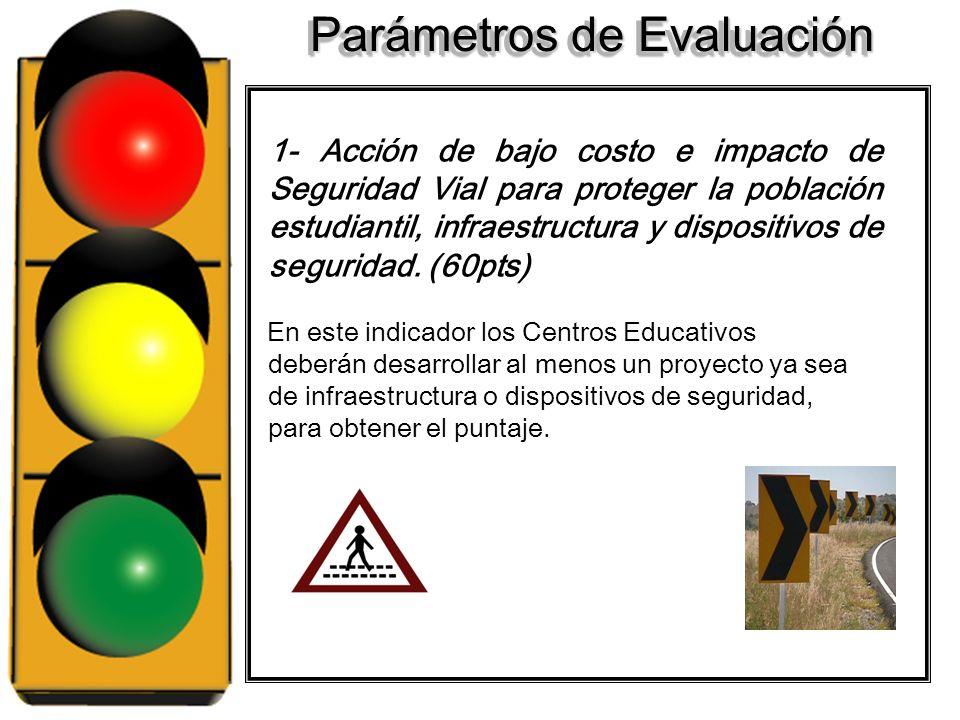 Parámetros de Evaluación 1- Por cada acción de bajo costo e impacto en la seguridad vial, se otorgará 60 puntos. 2- Incorporación de la población estu