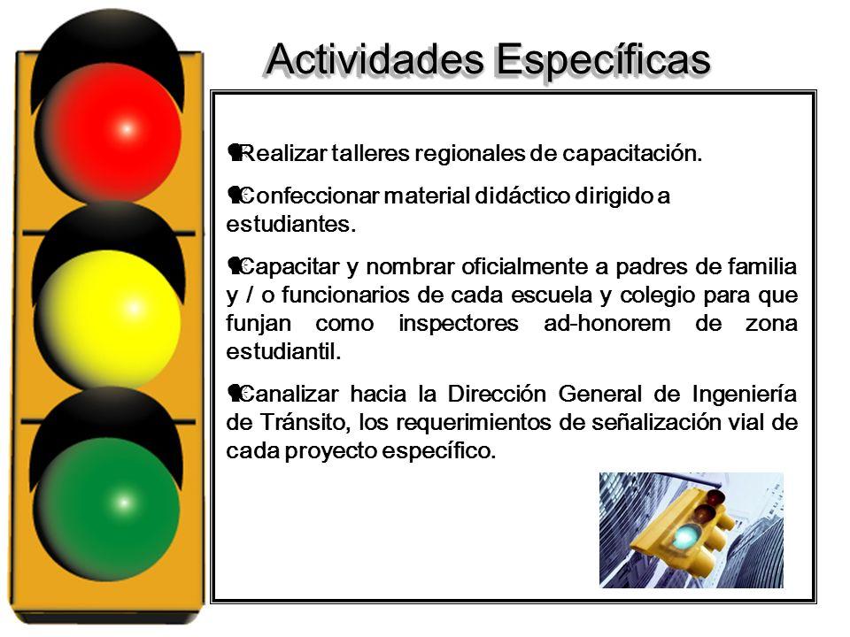 Objetivos Específicos Organización de comités de seguridad vial en cada una de los Centros Educativos participantes. Contribuir a generar en los niños