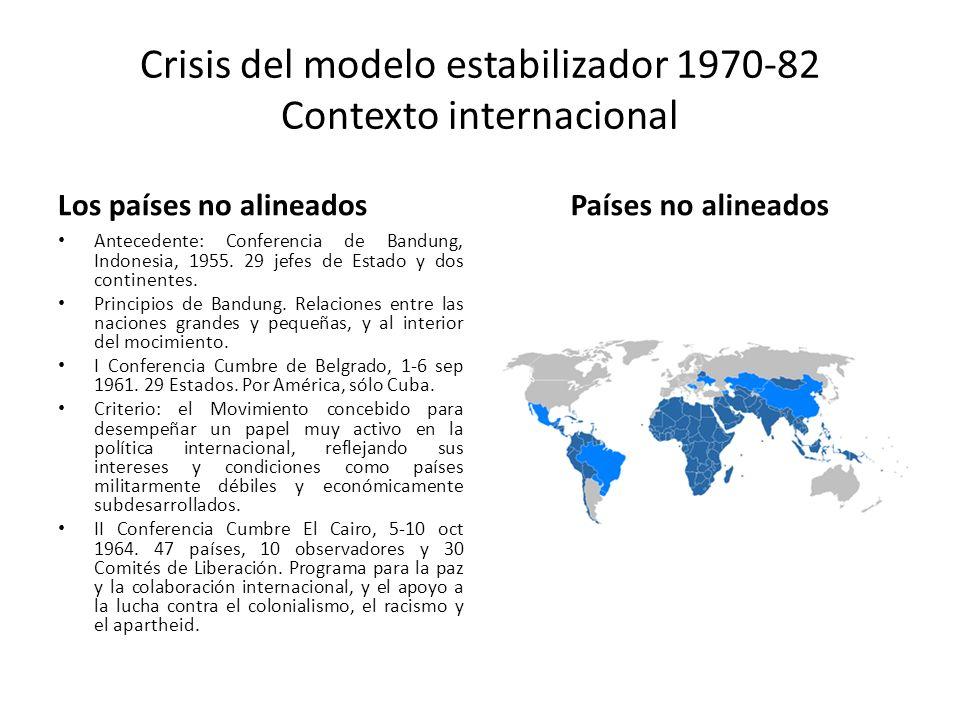 Crisis del modelo estabilizador 1970-82 Contexto internacional Los países no alineados Antecedente: Conferencia de Bandung, Indonesia, 1955. 29 jefes