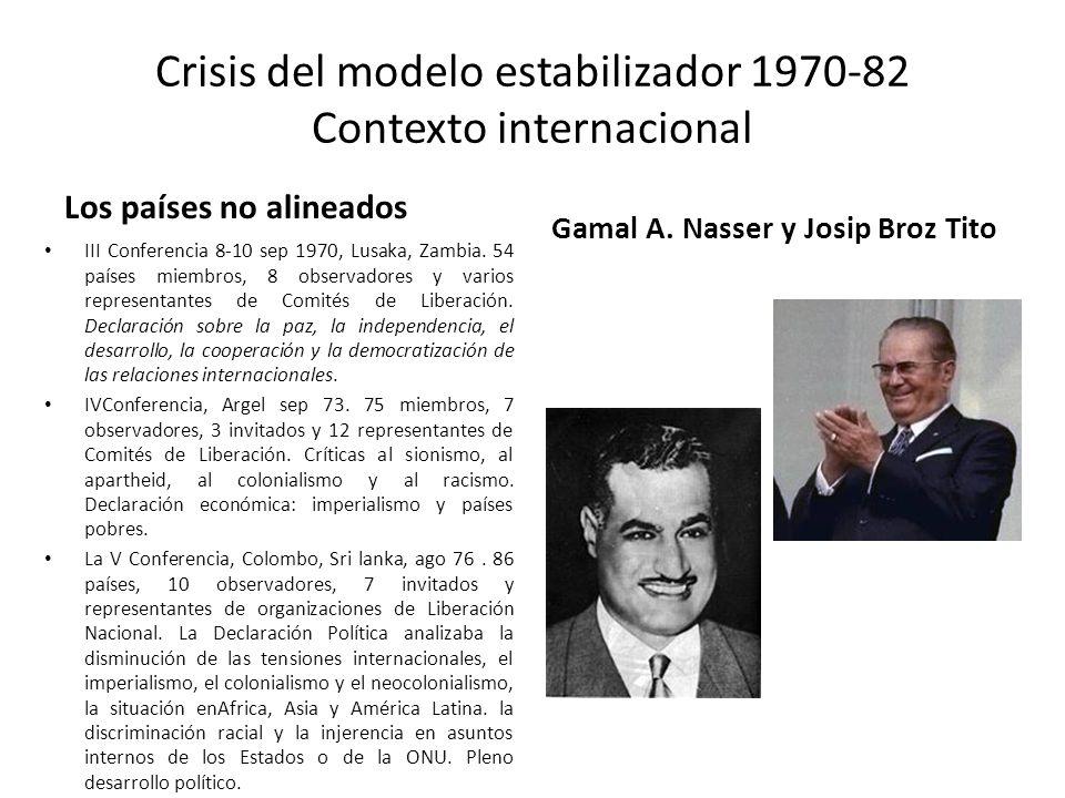 Crisis del modelo estabilizador 1970-82 Contexto internacional Los países no alineados III Conferencia 8-10 sep 1970, Lusaka, Zambia. 54 países miembr