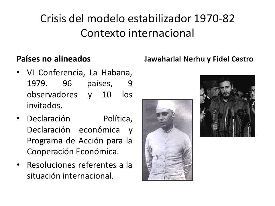 Crisis del modelo estabilizador 1970-82 Contexto internacional Países no alineados VI Conferencia, La Habana, 1979. 96 países, 9 observadores y 10 los