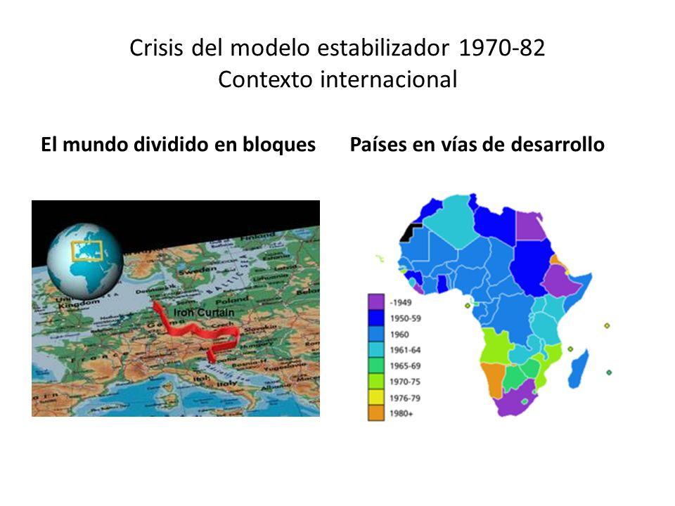 Crisis del modelo estabilizador 1970-82 Crisis del capitalismo mundial de 1973 Foro mundial de Davos, Suiza Marco: a)crisis financiera b)primera recesión mundial desde la II Guerra Mundial.