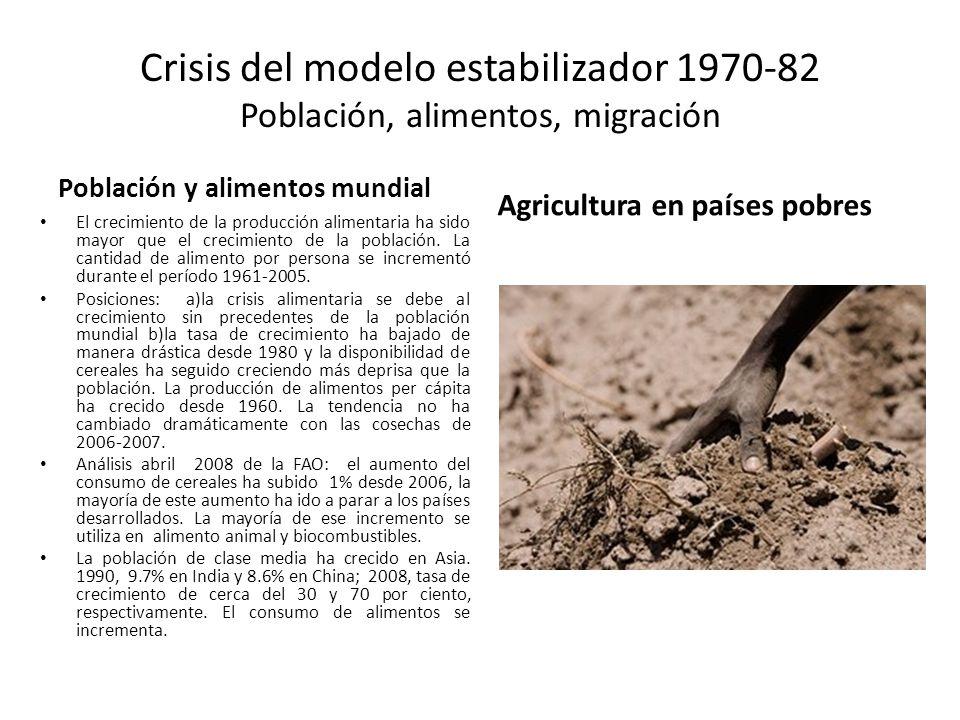 Crisis del modelo estabilizador 1970-82 Población, alimentos, migración Población y alimentos mundial El crecimiento de la producción alimentaria ha s