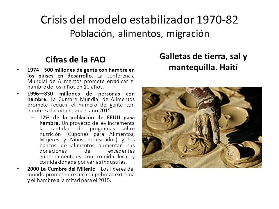 Crisis del modelo estabilizador 1970-82 Población, alimentos, migración Cifras de la FAO 1974500 millones de gente con hambre en los países en desarro