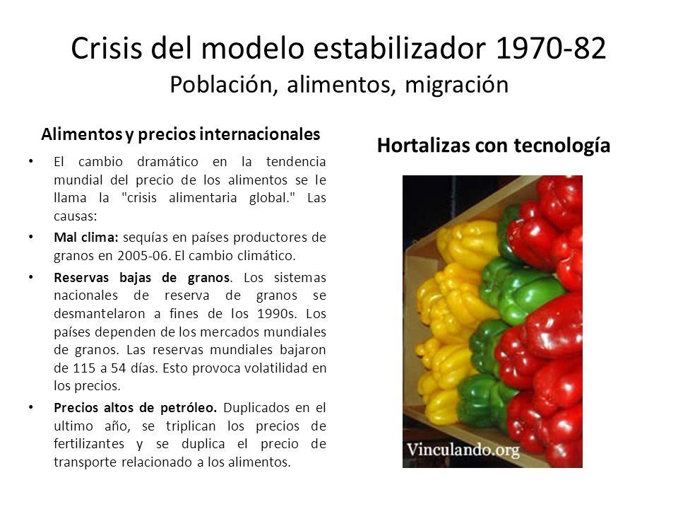 Crisis del modelo estabilizador 1970-82 Población, alimentos, migración Alimentos y precios internacionales El cambio dramático en la tendencia mundia