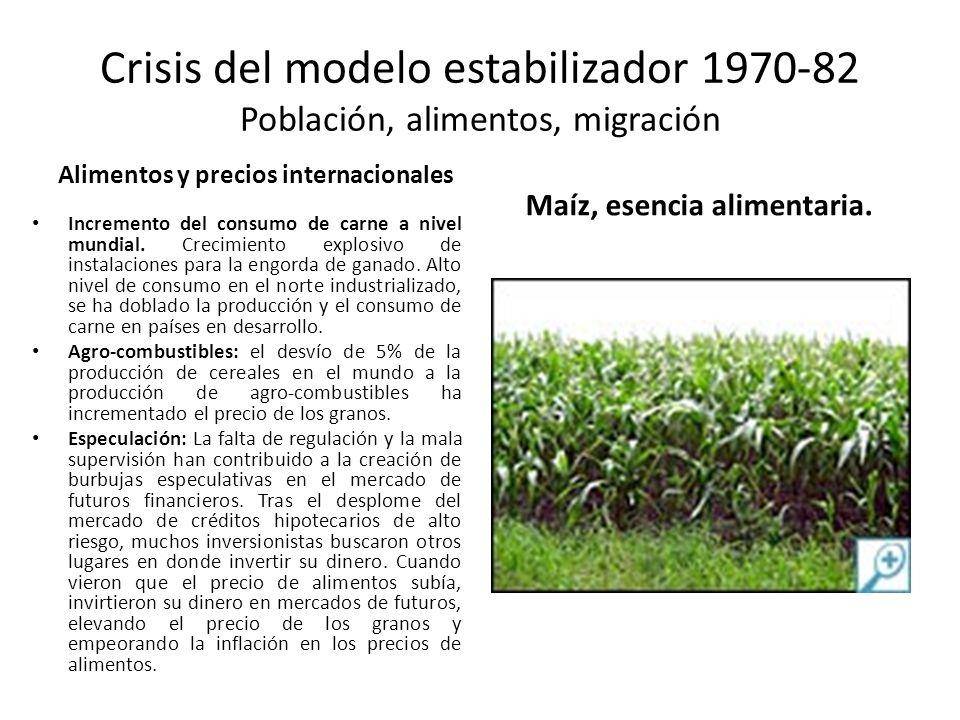 Crisis del modelo estabilizador 1970-82 Población, alimentos, migración Alimentos y precios internacionales Incremento del consumo de carne a nivel mu